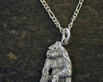 Sterling Silver Gorilla Pendant on a Sterling Silver Chain.