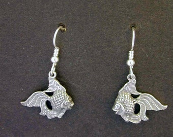 Sterling Silver Goldfish Earrings on Heavy Sterling Silver French Wires