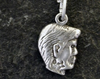 Sterling Silver Boy's Head Pendant on Sterling Silver Chain.