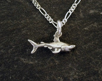 Sterling Silver Small Shark Pendant on a Sterling Silver Chain
