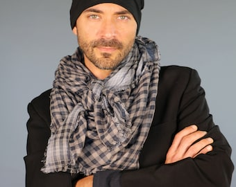 Plaid Accessories - Organic Cotton Gauze Scarf Reversible Checked Plaid - Large Square Scarf - Eco Friendly - Black Gray