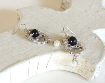 Hand-wired POP TAB EARRINGS - pearl earrings - silver, black, white - for teens and adults - upcycled/recycled - under 15.00