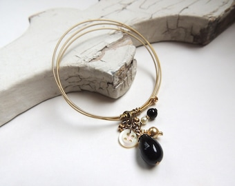 GUITAR STRING BRACELET- Gold Bangle With Beaded Charm - Size Small - for teens and adults - recycled/upcycled jewelry - under 30.00