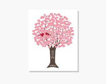 Custom Paper Anniversary Gift, Personalized Anniversary Tree Print Poster, Newlywed Couple Gift, Many Colors, Sizes
