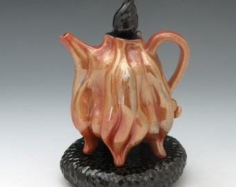 Luster flaming shino teapot with black pillow