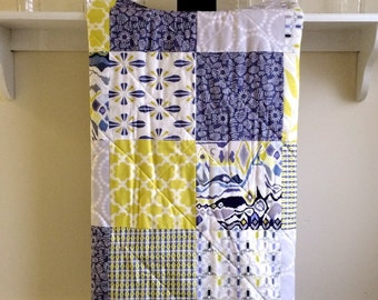 Modern Baby Quilt -  Luxe in Blue - Minky Back - Blue, Gray, Citron Yellow, White - Blueberry, Boy, Girl, Crib Quilt, Baby Bedding
