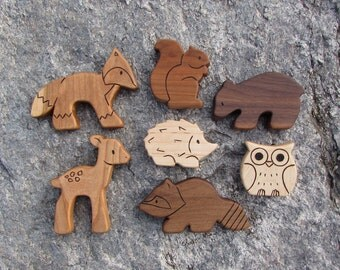 WOODLAND SET -  7 Wooden Toy Animals - Squirrel, Fox, Bear, Raccoon, Fawn, Hedgehog, Owl - Wood Toys - natural Waldorf toys