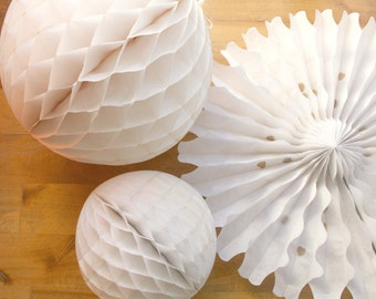 Holiday Party Decoration Pack ... Paper fan honeycomb // white wedding decor // baby bridal shower / baptism christmas // 1st birthday party