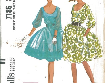 7186 1960's Full Circle Skirt Dress Sewing Pattern McCall's 7186 Bust 32