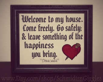"""Bram Stoker Dracula quote """" Transylvanian Hospitality """" 8x10"""" stitched framed sign classic horror buff movie lover gift funny Welcome sign"""