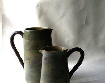 Handmade- Art Pottery- Vessals - Pair of Stoneware Pitchers-Hemlock House