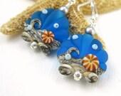 Ocean blue earrings, Beach jewelry, Lampwork earrings, Aqua blue wave earrings, Sea glass earrings, Seashell jewelry, Glass bead