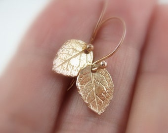 Rose gold leaf earrings, woodland leaves jewelry, Gold nature earrings, Woodland wedding earrings, Minimalist jewelry, tiny earrings earings