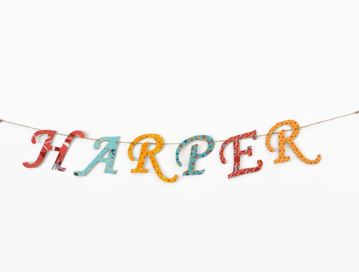 Custom Name Banner ~ Fabric Banner ~ Fabric Letters ~  Photo prop ~ HARPER Collection