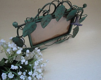 Small Vintage Whimsical Metal Ornate Picture Frame Green Leaves Bluebells Bell Flowers Vine Patina #1 OC