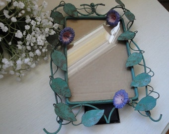 Vintage Whimsical Metal Ornate Picture Frame Green Leaves Bluebells Bell Flowers Vine Patina #2 OC