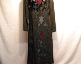Vintage 1970's Dark Gray And Black Velvet Black Embroidered Maxi Dress