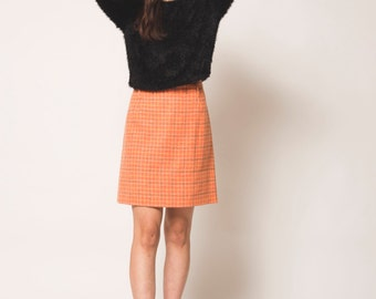 Orange Plaid High Waisted Vintage Wool Skirt