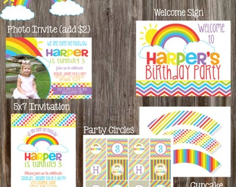 RAINBOWS & SUNSHINE Birthday Party Package - Girl DIY Printable