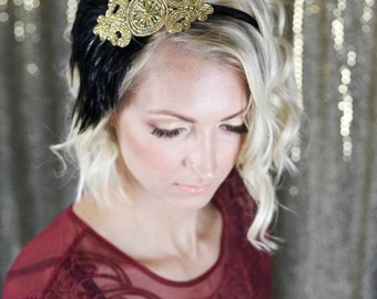 Gold Beaded Headpiece, Great Gatsby Headband for Gastsby Dress, Art Deco 1920s Bridal Headband Black Feather, Flapper Headband