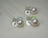 Monogram Bridesmaid Jewelry Set of 4 - Pearl Initial Necklace Birthstone Bridesmaid Gift - Wedding Jewelry - Wedding Party Gifts