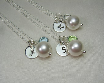 Monogram Bridesmaid Jewelry Set of 4 Pearl Initial Necklace Birthstone Bridesmaid Gift Wedding Jewelry Sterling Silver Bridesmaid Necklace