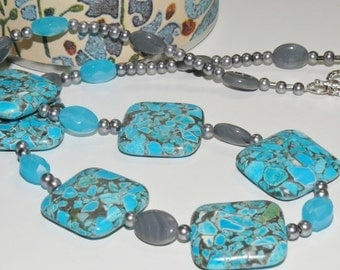 Turquoise & Gray Rectangle Bead and Grey Round Pearl Ladies Handmade Necklace