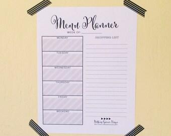 Desk Planner, Menu Planner, Daily Planner, Weekly Planner, Printable Planner