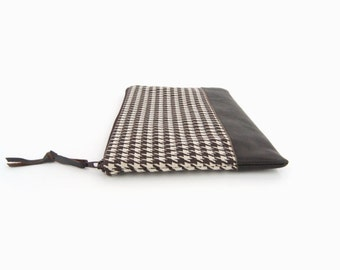 Retro Houndstooth Zipper Pouch Clutch - Brown Recycled Leather Accent - Women Accessories, Pencil Case, Cosmetic Bag in Chocolate and Beige