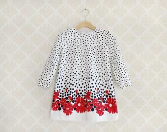 Retro Style Winter Girl Dress, Toddler Navy Dress, Navy Dots and Red Flowers Dress, Little Girl longsleeves dress, Polka dots Baby Dress