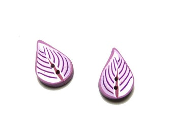 Leaf button, Set of 2 leaf BUTTONS  1,8cm   11/16 inch, purple white pink, LEAF buttons polymer clay artisan made, boutons feuilles fuschia