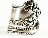 Silver Victorian Ring, Florentine Milgrain Ring, Sterling Silver Spoon Ring, Towle Sterling Canterbury ca 1893, Adjustable Ring Size (5835)