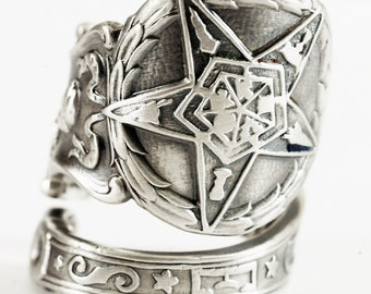 O.E.S. Ring, Sterling Silver Spoon Ring, Order of the Eastern Star, Masonic, Freemason, Christian Handmade Gift, Adjustable Ring Size (5827)