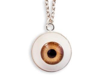 Eye Necklace - Brown Weird Spooky Macabre Goth Gothic Funny Evil Eye Strange Horror Dark