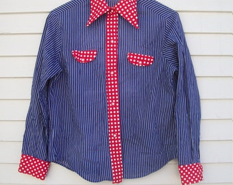 Nautical / Patriotic Pinstripe And Polka Dot Button Up Blouse Red white And Blue