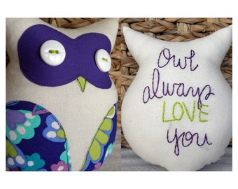 Owl Always Love You --Small Plush Owl Lovey in Purple and Lime