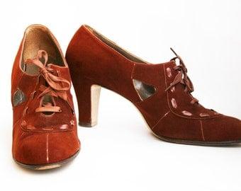 Vintage 1930s Brown Suede Oxford Shoes Heels Art Deco Size 6.5 Narrow