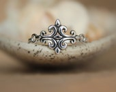 Fleur de Lis Ring - Tribal Statement Ring in Sterling - Medieval Style Scroll Ring - Stylized French Lily Ring in Silver - Fleur de Lys