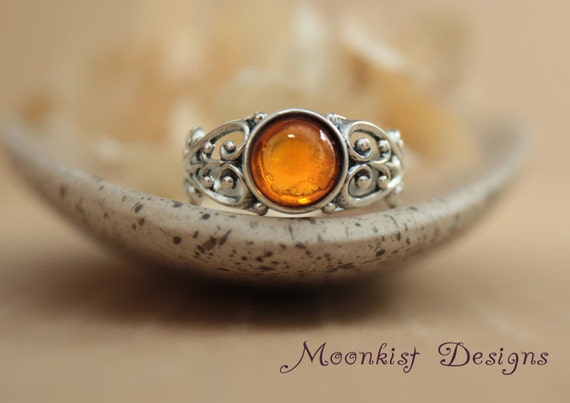 Unique amber filigree silver engagement ring silver unisex for Amber stone wedding ring