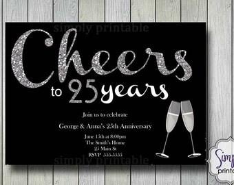 Wedding Anniversary Invitations - Silver Glitter