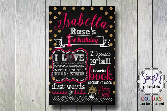 1st Birthday Poster, Printable Digital File, Pink Gold & Black