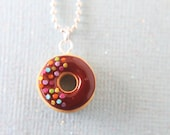 Food Necklace - Doughnut necklace- Nutella - Chocolate doughnut - Food Jewelry