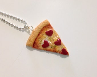 Pizza Necklace - Food Jewelry - Heart Pizza- Bff necklace - Valentines Day