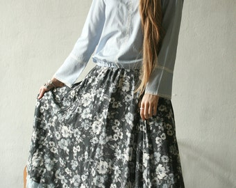 Gypsy light blue and grey floral maxi skirt, with ruffled hem petticoat