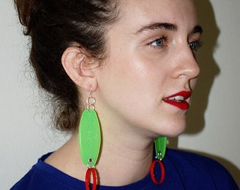 Upcycled Plastic Green Red Statement Earrings