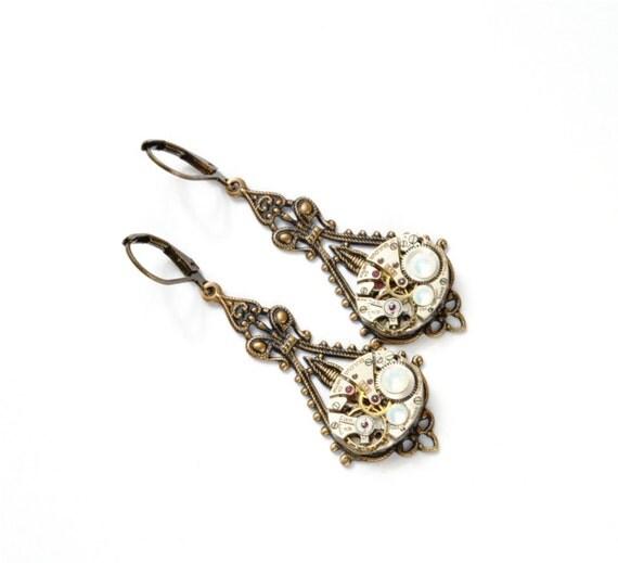 OCTOBER Steampunk Earrings OPAL Steampunk Wedding Earrings Dangle Earrings Antique Brass Dangle Steampunk Jewelry by VictorianCuriosities