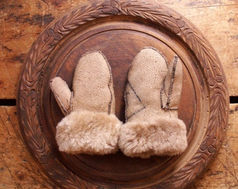 Vintage Fur Lined Children's Leather Mittens, Gloves