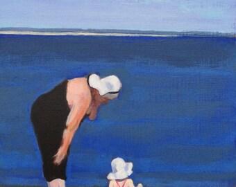 "Original figure painting ""Beach Day"""