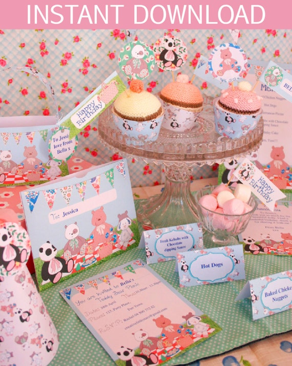 Teddy Bears Picnic Party DIY Printable Kit - INSTANT DOWNLOAD