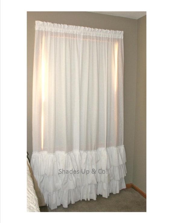 Triple Ruffles Curtain Shabby Chic KAMI White Curtain Panel Little Girls Room Or Nursery Curtains Bed Crown